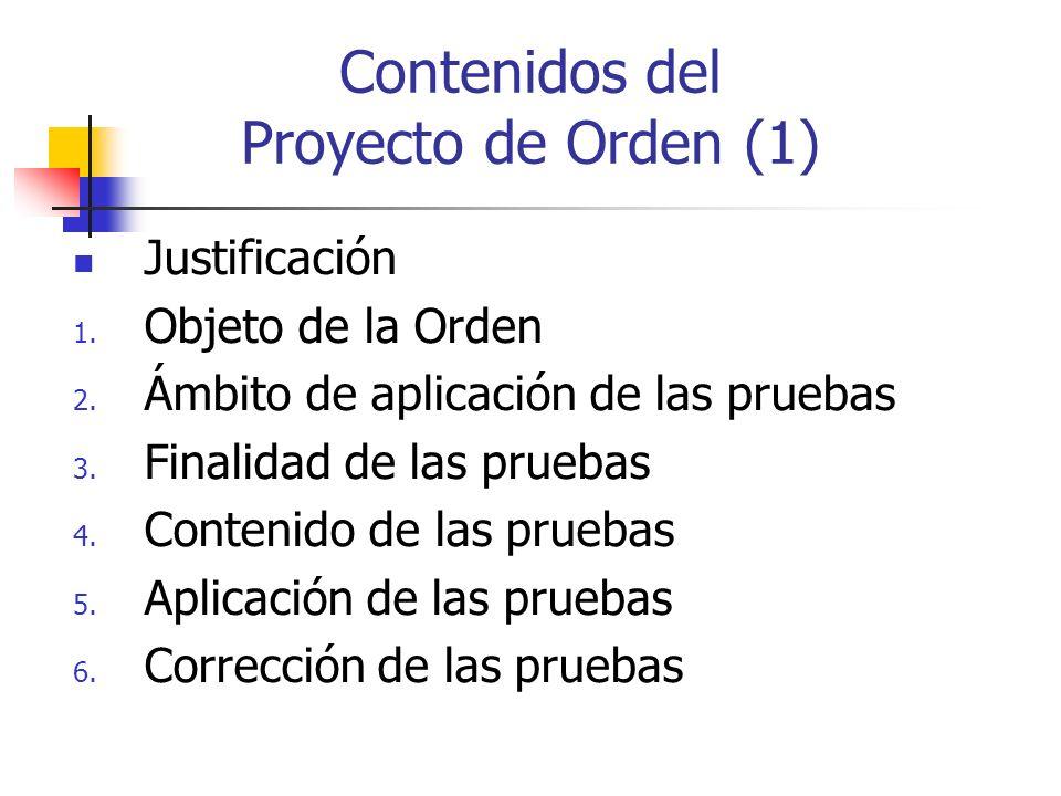 Contenidos del Proyecto de Orden (1)