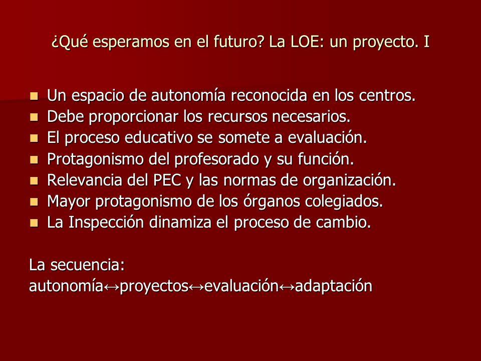 ¿Qué esperamos en el futuro La LOE: un proyecto. I