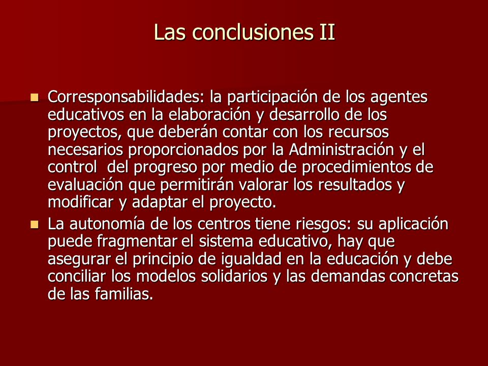 Las conclusiones II