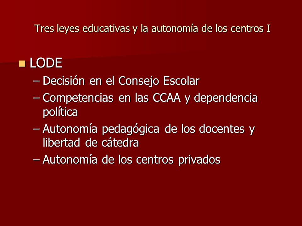 Tres leyes educativas y la autonomía de los centros I