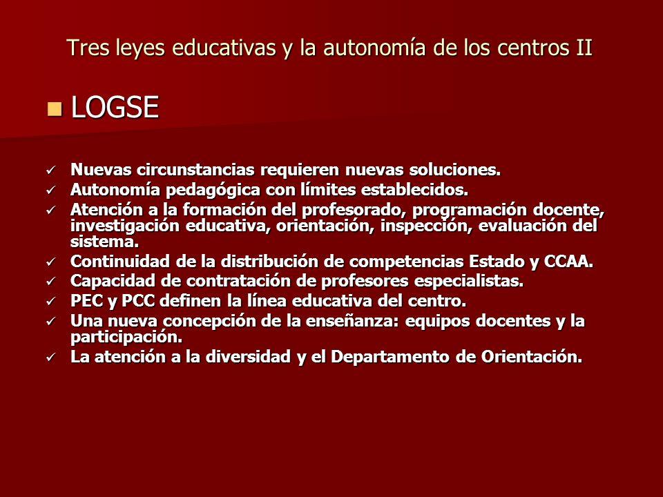 Tres leyes educativas y la autonomía de los centros II