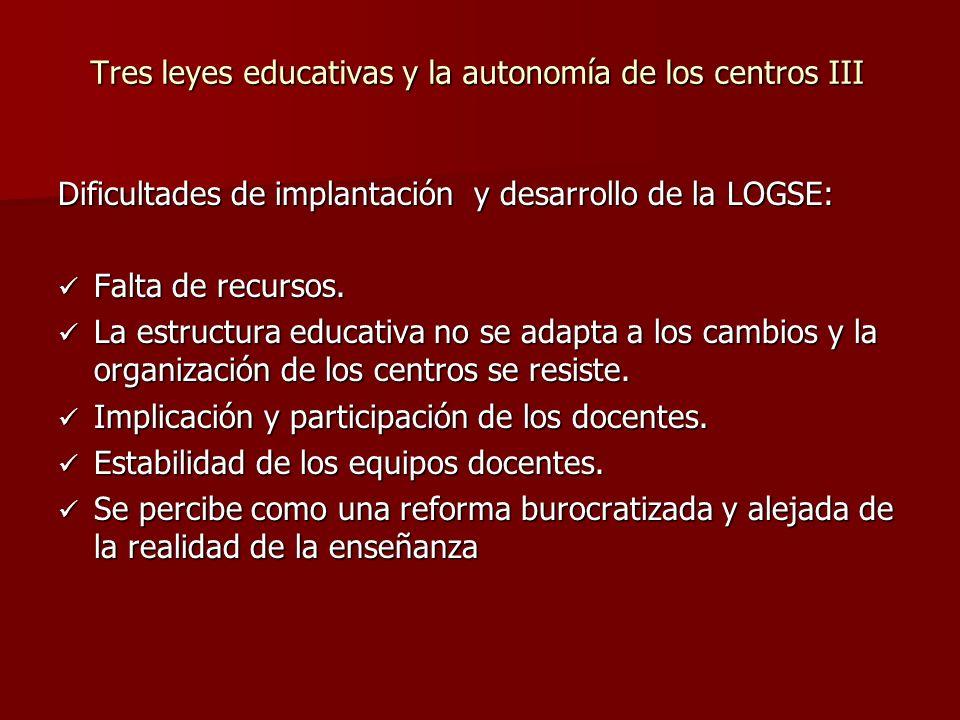 Tres leyes educativas y la autonomía de los centros III