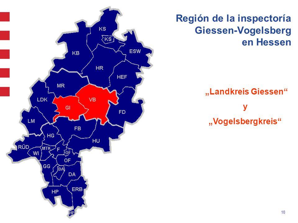Región de la inspectoría Giessen-Vogelsberg en Hessen