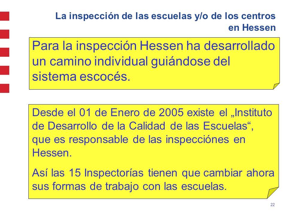 La inspección de las escuelas y/o de los centros en Hessen