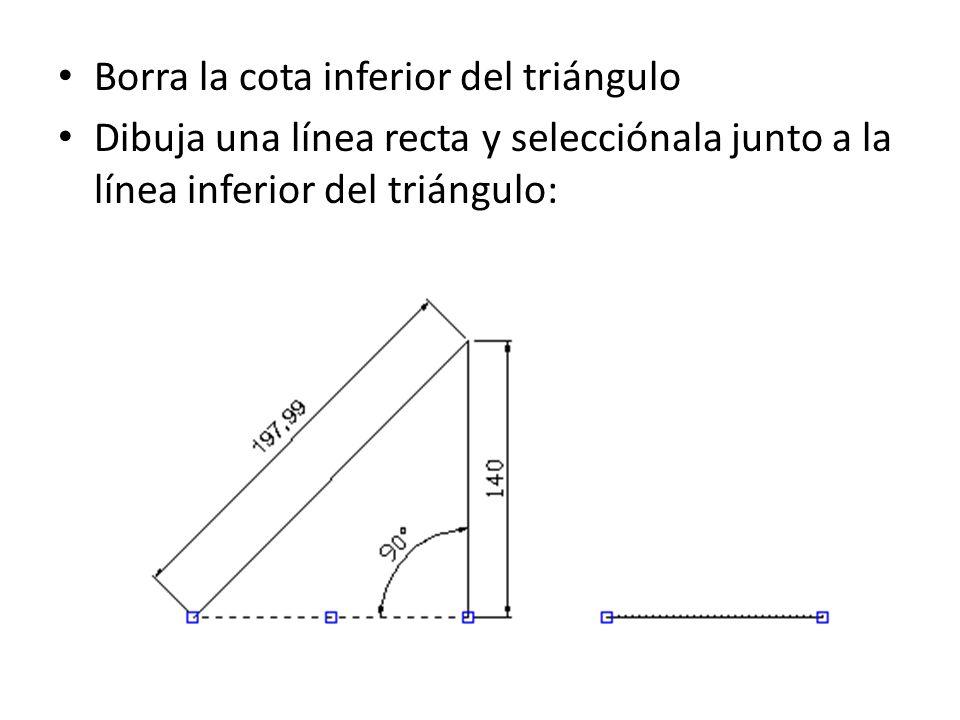 Borra la cota inferior del triángulo