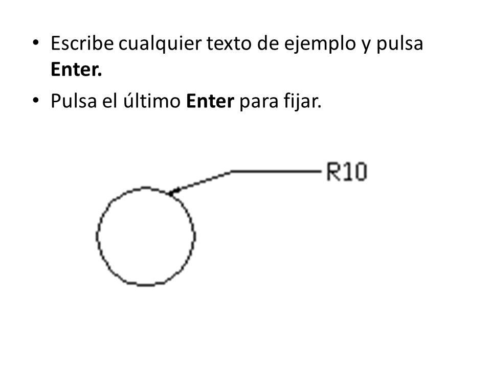 Escribe cualquier texto de ejemplo y pulsa Enter.