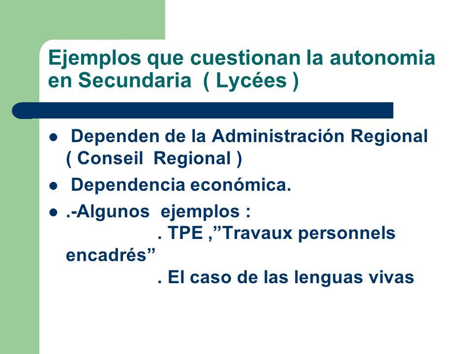 Ejemplos que cuestionan la autonomia en Secundaria ( Lycées )