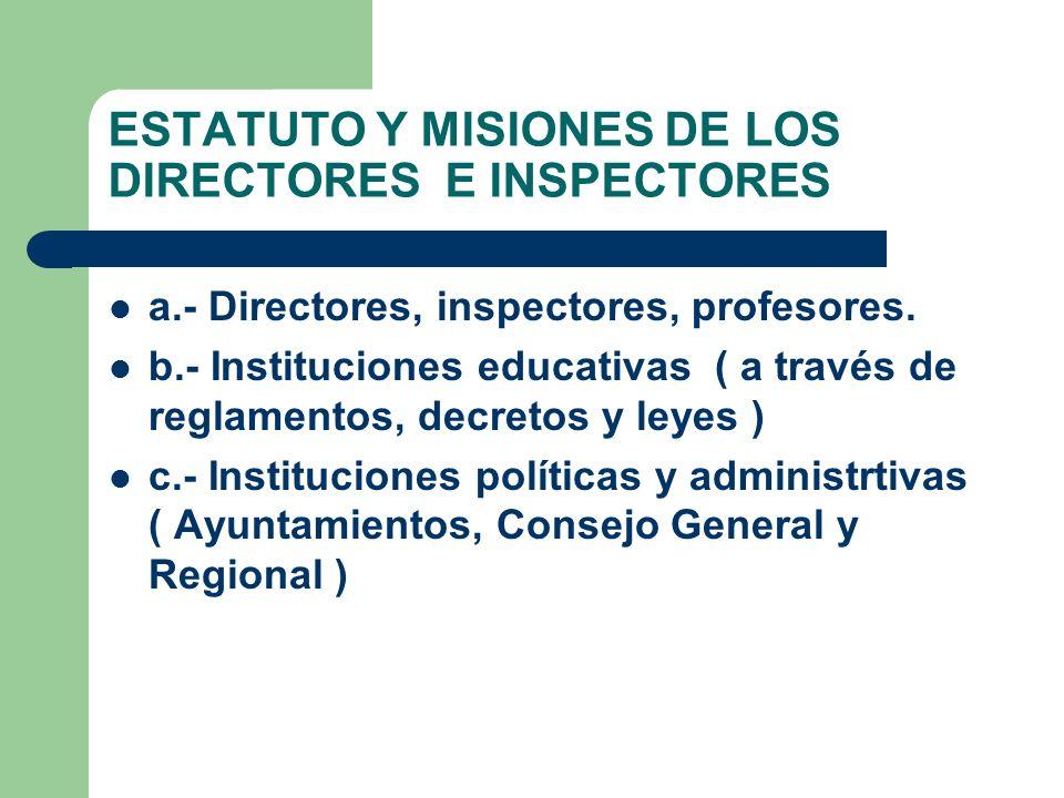 ESTATUTO Y MISIONES DE LOS DIRECTORES E INSPECTORES