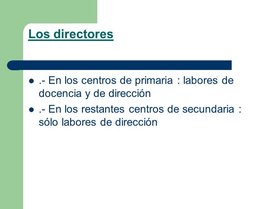 Los directores .- En los centros de primaria : labores de docencia y de dirección.