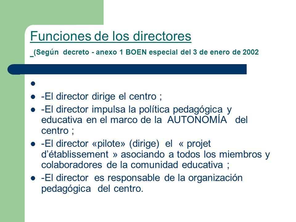 Funciones de los directores (Según decreto - anexo 1 BOEN especial del 3 de enero de 2002