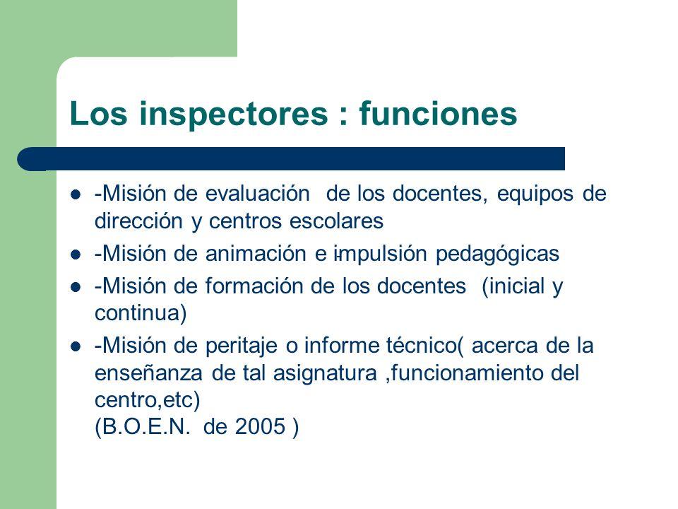 Los inspectores : funciones