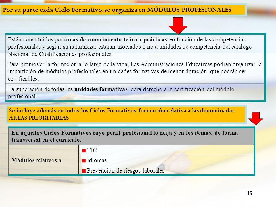 Por su parte cada Ciclo Formativo, se organiza en MÓDULOS PROFESIONALES