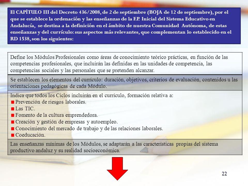 El CAPÍTULO III del Decreto 436/2008, de 2 de septiembre (BOJA de 12 de septiembre), por el que se establece la ordenación y las enseñanzas de la F.P. Inicial del Sistema Educativo en Andalucía, se destina a la definición en el ámbito de nuestra Comunidad Autónoma, de estas enseñanzas y del currículo: sus aspectos más relevantes, que complementan lo establecido en el RD 1538, son los siguientes: