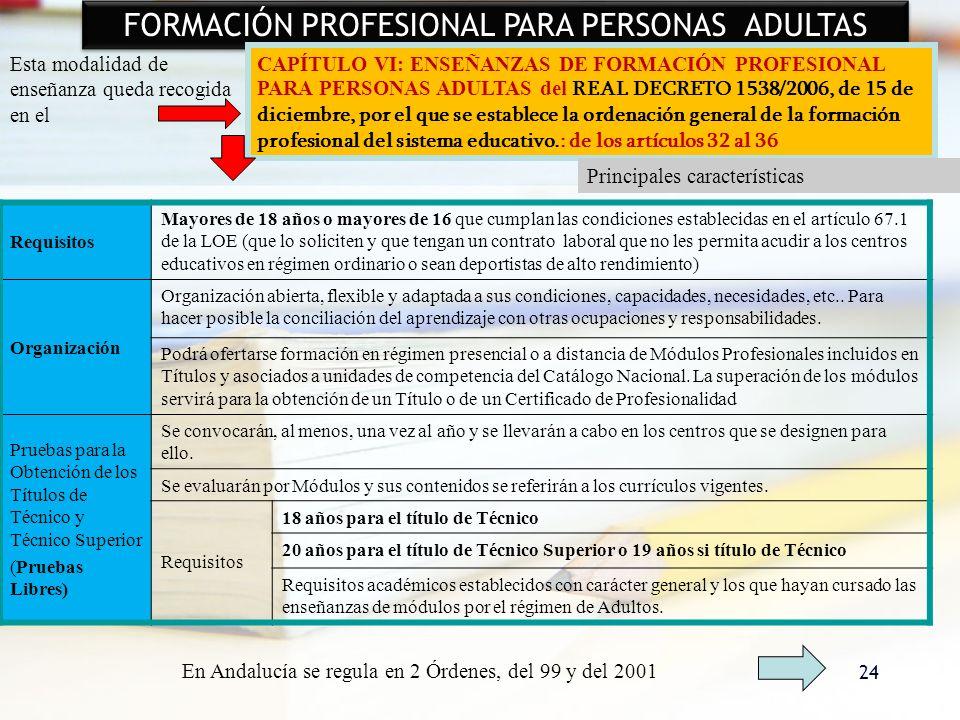 FORMACIÓN PROFESIONAL PARA PERSONAS ADULTAS