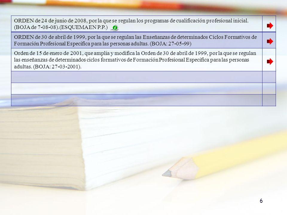 ORDEN de 24 de junio de 2008, por la que se regulan los programas de cualificación profesional inicial. (BOJA de 7-08-08).(ESQUEMA EN P.P.)
