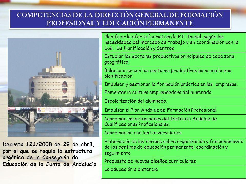 COMPETENCIAS DE LA DIRECCIÓN GENERAL DE FORMACIÓN PROFESIONAL Y EDUCACIÓN PERMANENTE