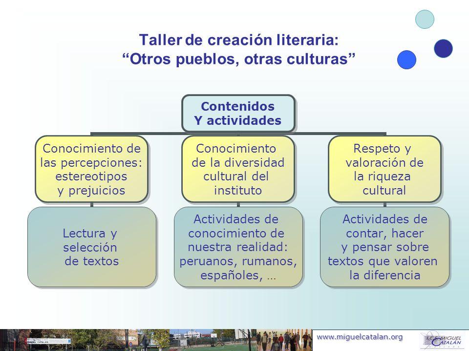 Taller de creación literaria: Otros pueblos, otras culturas
