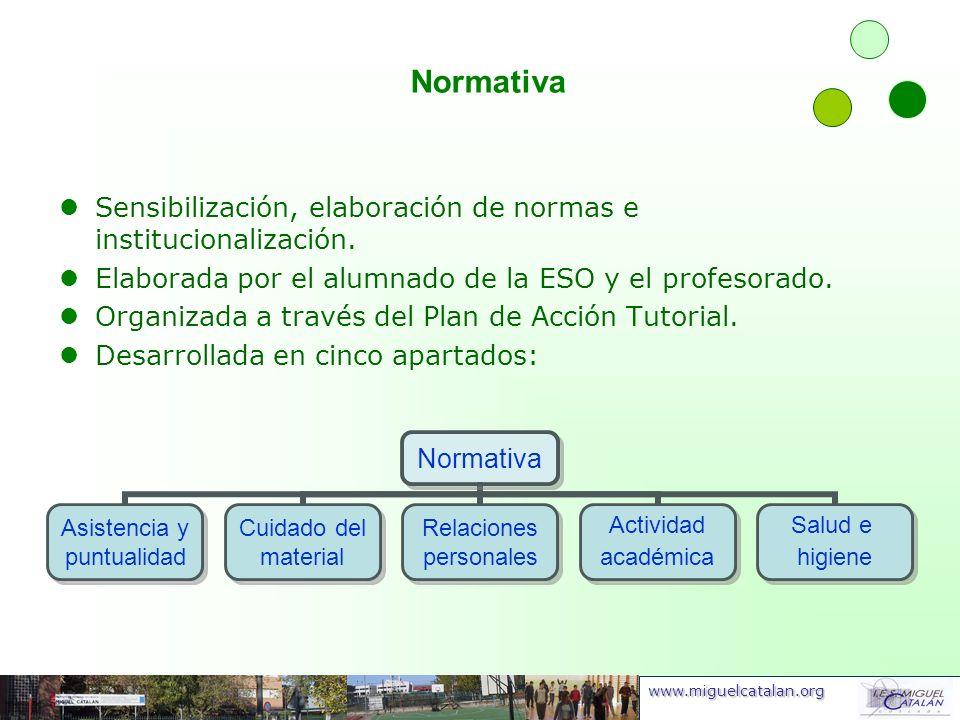 Normativa Sensibilización, elaboración de normas e institucionalización. Elaborada por el alumnado de la ESO y el profesorado.