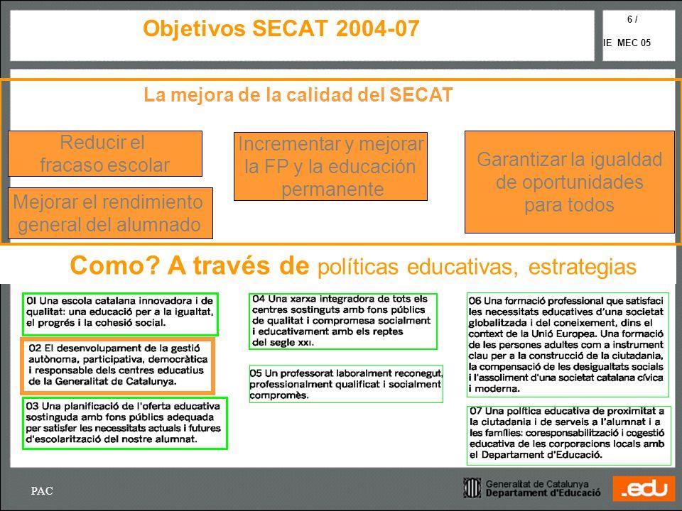 Como A través de políticas educativas, estrategias