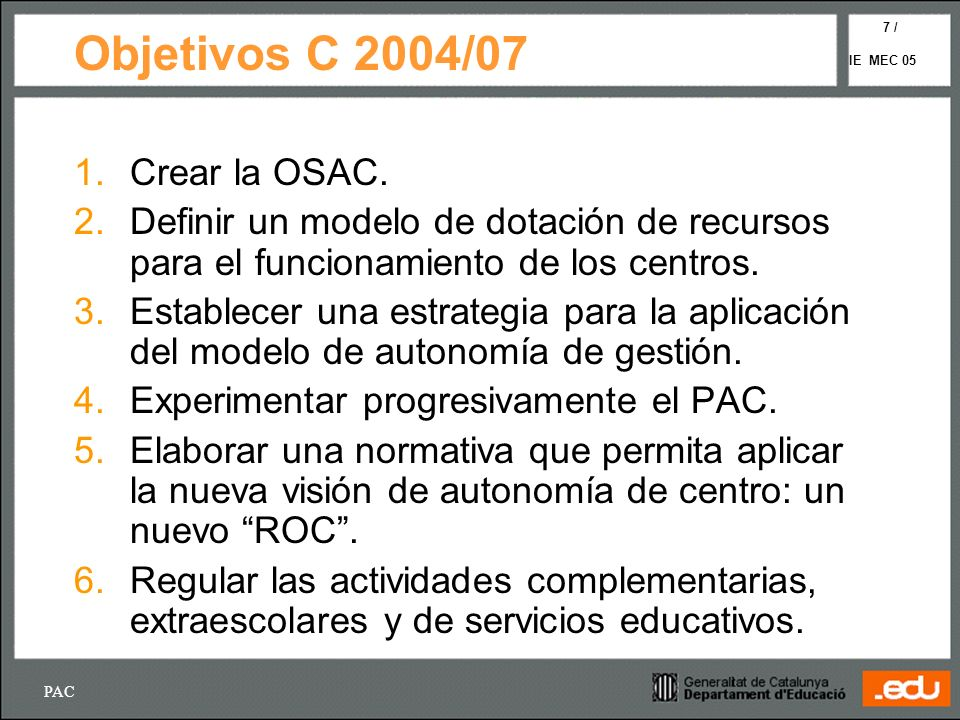 Objetivos C 2004/07 Crear la OSAC.