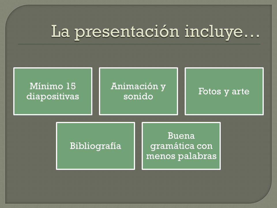 La presentación incluye…