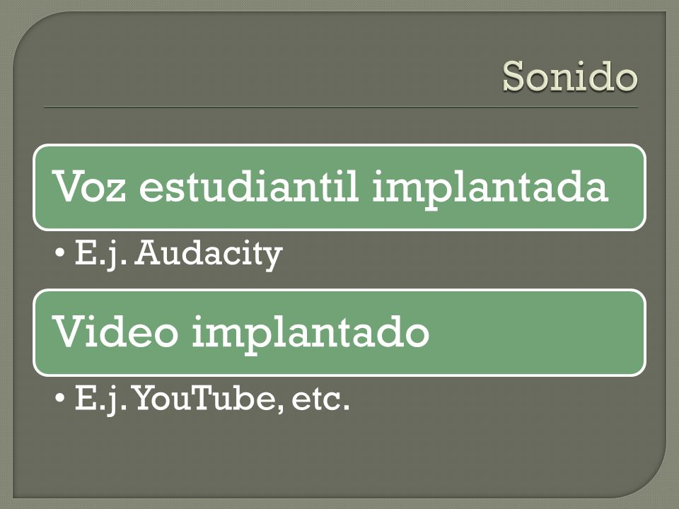 Sonido Voz estudiantil implantada E.j. Audacity Video implantado