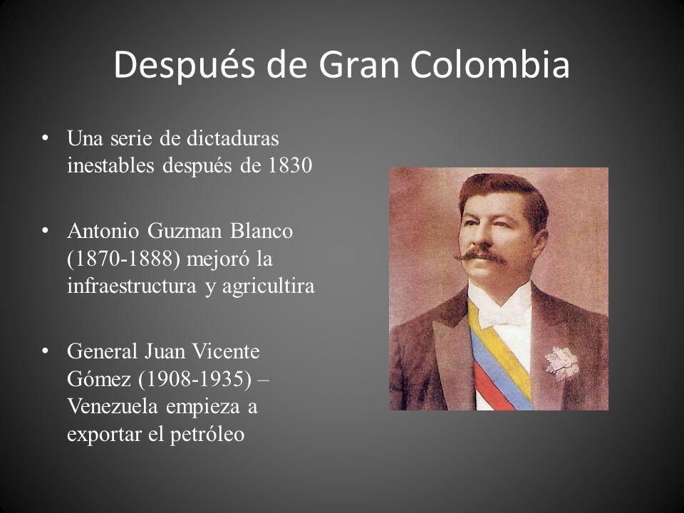 Después de Gran Colombia