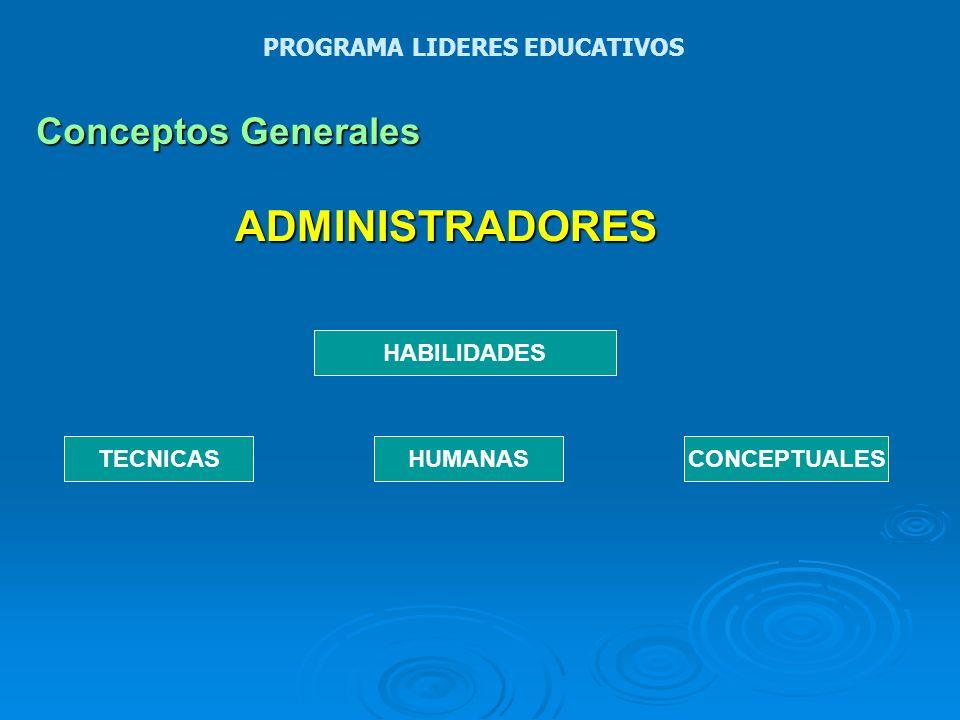 ADMINISTRADORES Conceptos Generales PROGRAMA LIDERES EDUCATIVOS