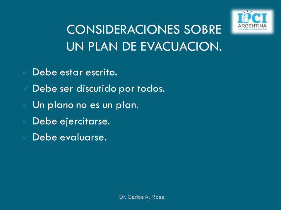 CONSIDERACIONES SOBRE UN PLAN DE EVACUACION.