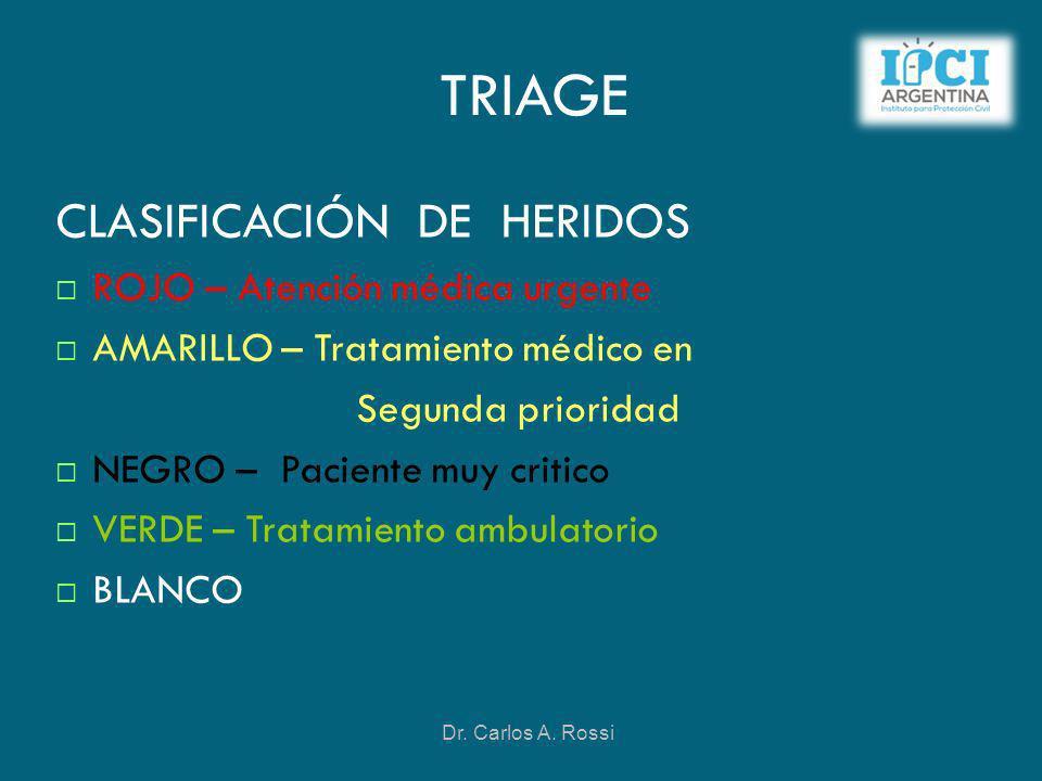 TRIAGE CLASIFICACIÓN DE HERIDOS ROJO – Atención médica urgente