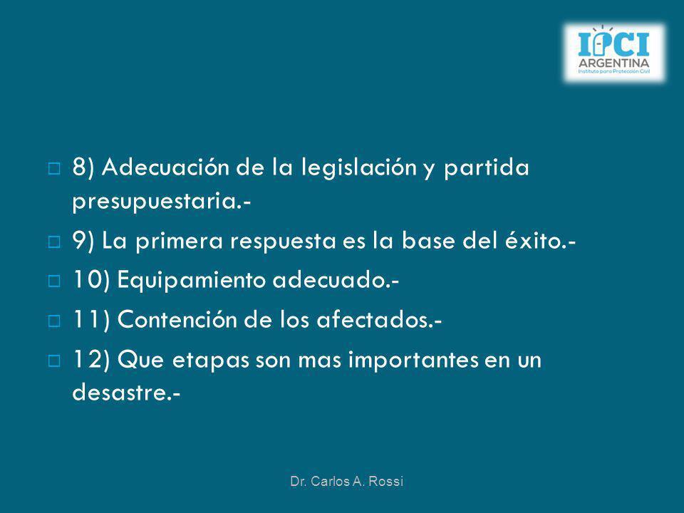 8) Adecuación de la legislación y partida presupuestaria.-