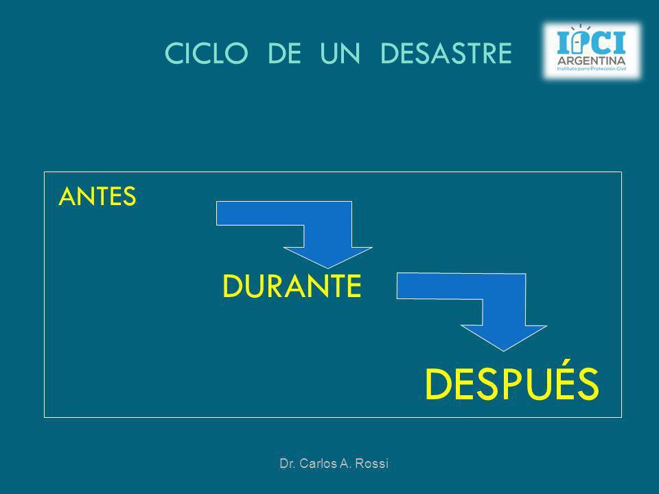 CICLO DE UN DESASTRE ANTES DURANTE DESPUÉS Dr. Carlos A. Rossi