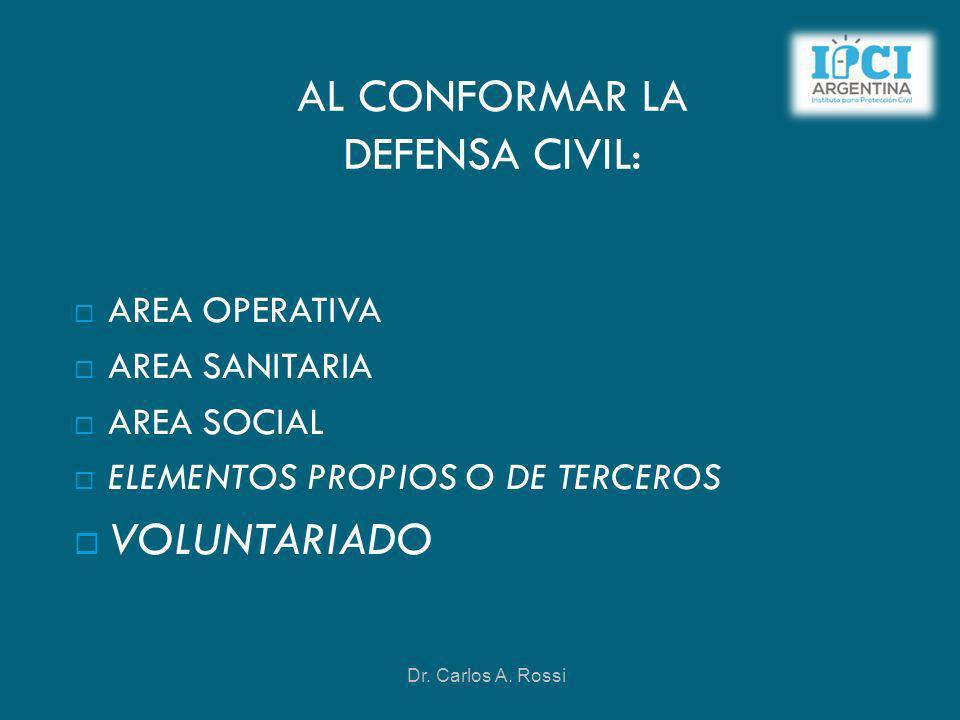 AL CONFORMAR LA DEFENSA CIVIL: