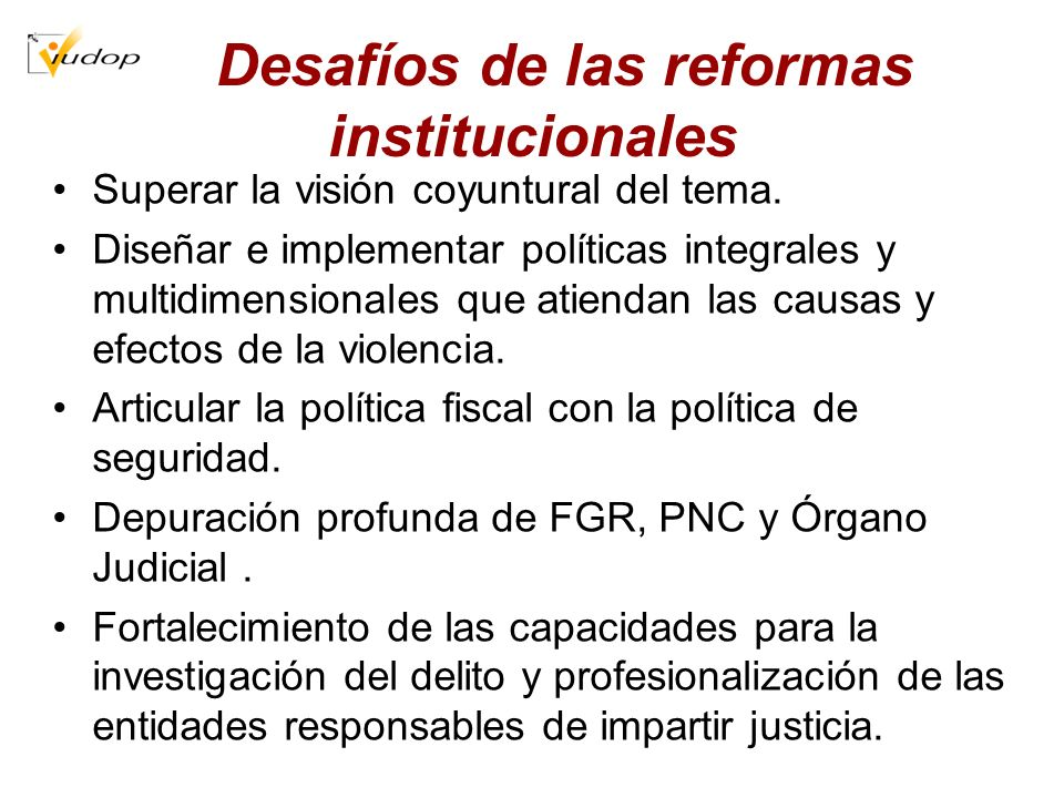 Desafíos de las reformas institucionales