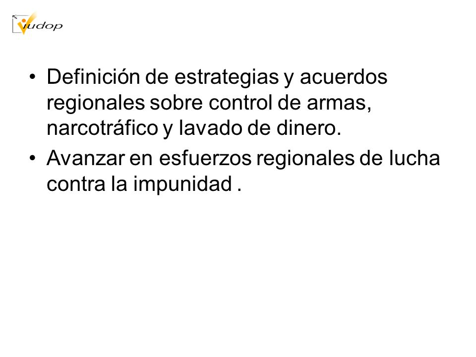 Definición de estrategias y acuerdos regionales sobre control de armas, narcotráfico y lavado de dinero.