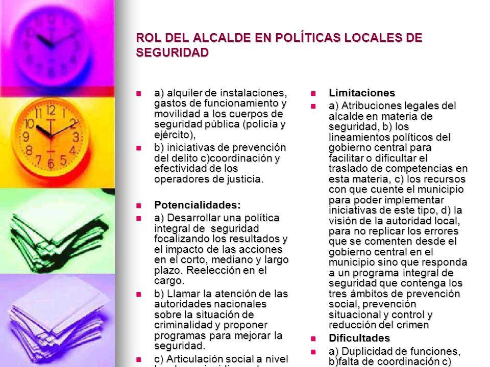 ROL DEL ALCALDE EN POLÍTICAS LOCALES DE SEGURIDAD