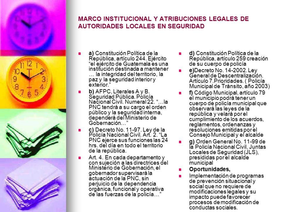 MARCO INSTITUCIONAL Y ATRIBUCIONES LEGALES DE AUTORIDADES LOCALES EN SEGURIDAD