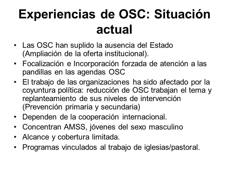 Experiencias de OSC: Situación actual