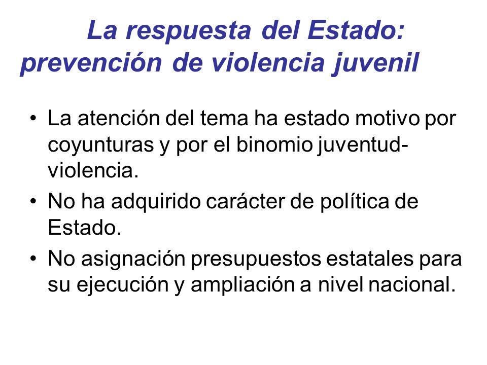La respuesta del Estado: prevención de violencia juvenil