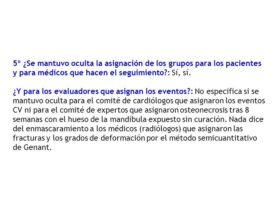 5º ¿Se mantuvo oculta la asignación de los grupos para los pacientes y para médicos que hacen el seguimiento : Sí, sí.