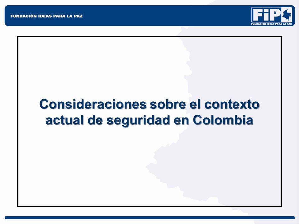 Consideraciones sobre el contexto actual de seguridad en Colombia