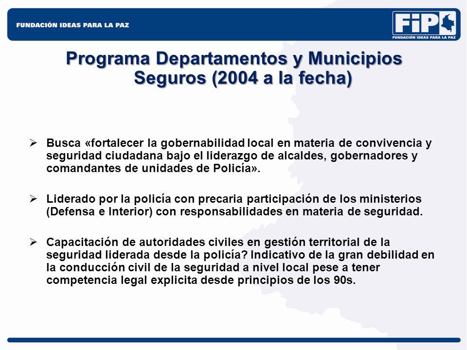 Programa Departamentos y Municipios Seguros (2004 a la fecha)