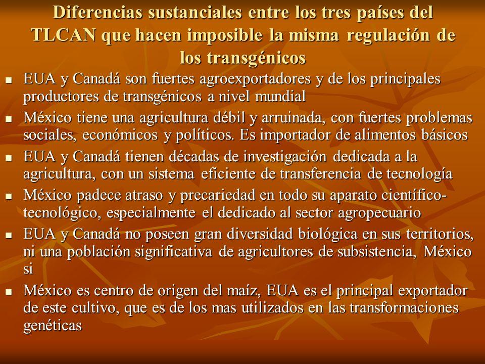 Diferencias sustanciales entre los tres países del TLCAN que hacen imposible la misma regulación de los transgénicos
