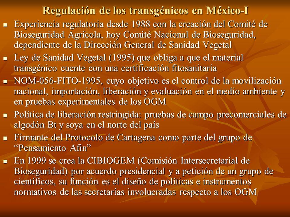 Regulación de los transgénicos en México-I