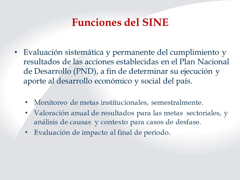 Funciones del SINE