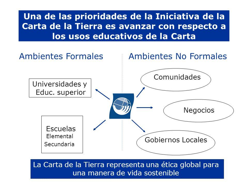 Una de las prioridades de la Iniciativa de la Carta de la Tierra es avanzar con respecto a los usos educativos de la Carta
