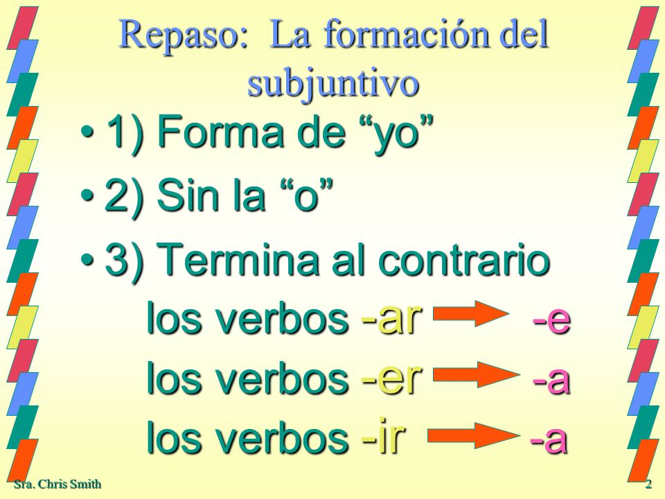Repaso: La formación del subjuntivo