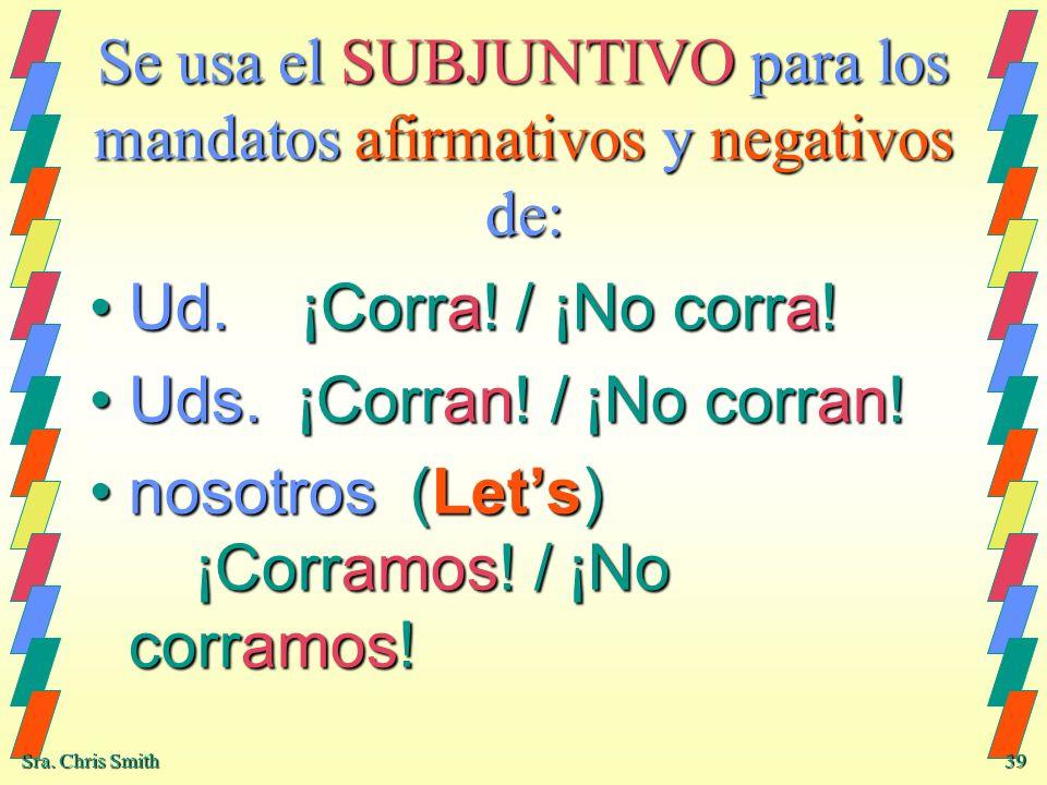 Se usa el SUBJUNTIVO para los mandatos afirmativos y negativos de: