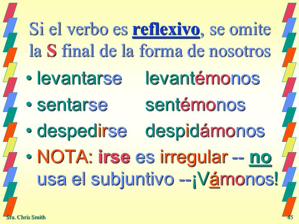 Si el verbo es reflexivo, se omite la S final de la forma de nosotros