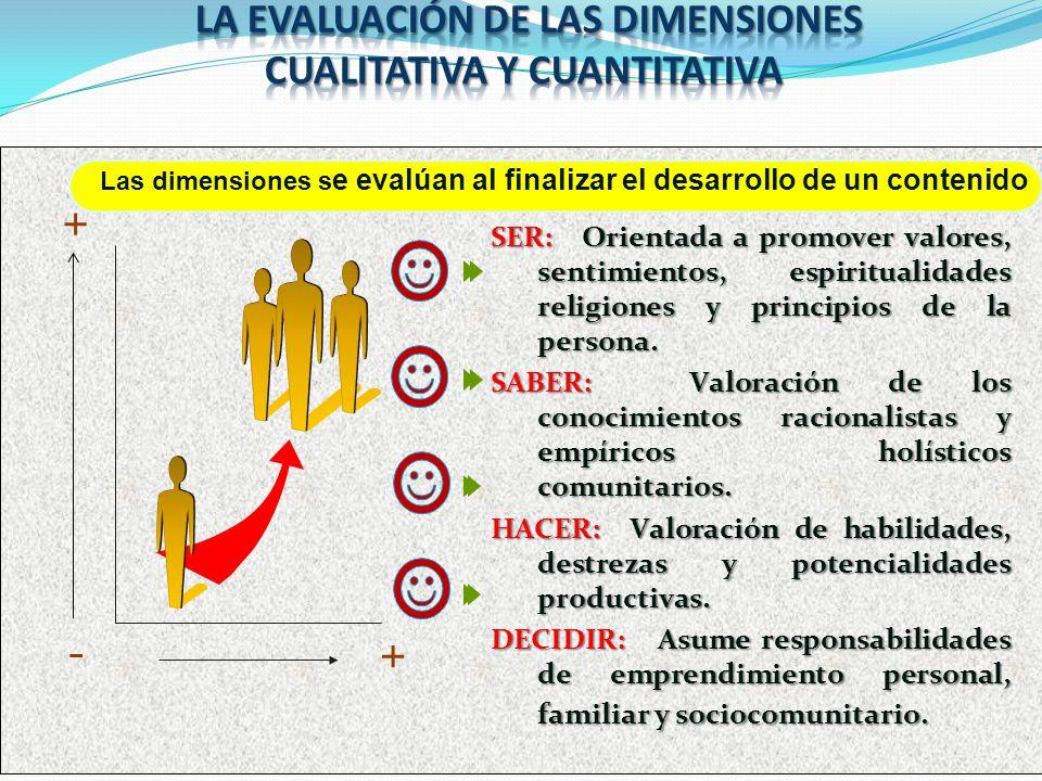 LA EVALUACIÓN DE LAS DIMENSIONES CUALITATIVA Y CUANTITATIVA